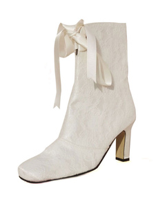 Ivory Square Toe Chunky Heel Lace Bridal Boots
