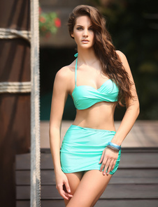 Sexy Green Pleated High Waist Bikini Set With Mini Skirt