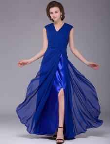 Royal Blue Aline VNeck Split Front Short Sleeve Bridal Mother Dress