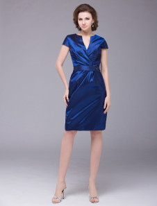 Royal Blue Sheath VNeck Short Sleeves Taffeta Bridal Mother Dress