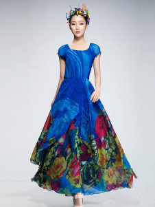 Puff Short Sleeves Deep Blue Floral Print Chiffon Maxi Dress
