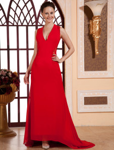 Red Deep VNeck Lace Chiffon Cannes Film Festival Dress