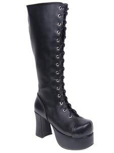 High Quality Black PU Leather Round Toe High( 33.9) Lolita Boots