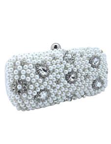 Beautiful Silver Pearls Snap Closure Womens Evening Bag