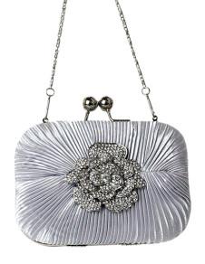 Silver Kiss Lock Rhinestones Flower Satin Womens Evening Bag