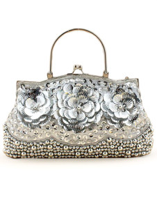 Silver Ring Sequin Beading Satin Womens Evening Bag