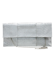 Silver Satchel Shape Quilted Silk Womans Evening Bag