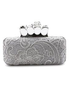 Silver Woven Pattern Chain Satin Womens Evening Bag