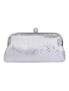 Glitter Silver Horizontal Shape Sequin Satin Evening Bag For Woman
