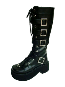 High Quality Buckle Black Round Toe PU Leather Lolita Boots