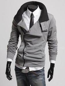 Deep Gray Jacket With Turndown Collar
