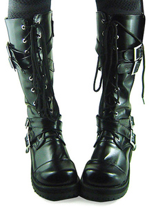 Chunky Heel Black PU Front Lace Up Buckles Lolita Boots
