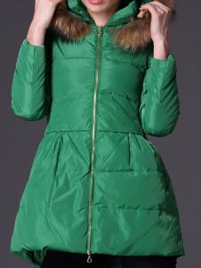 Green Hoodie Long Sleeves Acetate Womans Coat