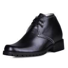Concise Black Cow Leather Rubber Sole Mens Elevator Shoes