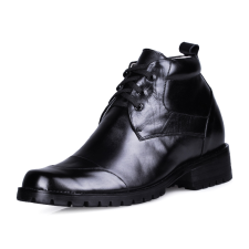 Black Cow Leather Rubber Sole LaceUp Increasing Height Shoes For Men