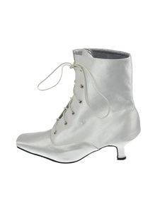 White Satin Lace Front Ankle High Wedding Boots
