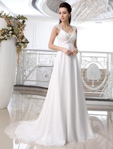 Ivory Chiffon Lace Vneck Empire Waist Wedding Dress