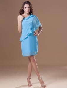 Blue Cascading Ruffle Halter Chiffon Short Fashion Cocktail Dress