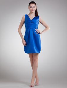 Royal Blue Bow VNeck Satin Short Fashion Cocktail Dress