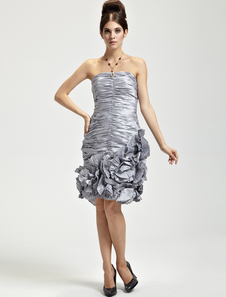 Adorable Silver Taffeta Strapless Applique Ladies Cocktail Dress