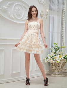 Champagne Strapless Applique Sequin Knee Length Womans Prom Dress