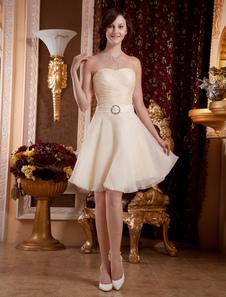 Champagne Sweetheart Knee Length Organza Homecoming Dress