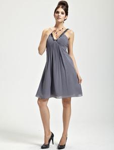 Delicate Deep Gray Chiffon Vneck Knee Length Womens Cocktail Dress