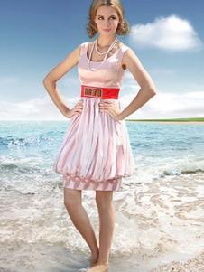 Modern Pink Round Collar Knee Length Cocktail Dress