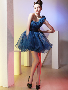 Modern Royal Blue One Shoulder Organza Short Cocktail Dress