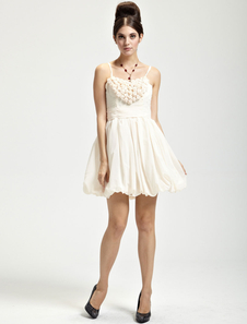 Pretty Champagne Chiffon Knee Length Womens Homecoming Dress