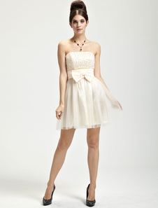 Pretty Champagne Satin Knee Length Strapless Womens Cocktail Dress