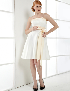 White Satin Spaghetti Sash Knee Length Cocktail Dress