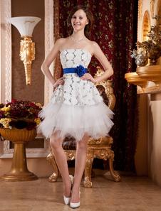 White Strapless Knee Length Sequin Flower Womans Homecoming Dress