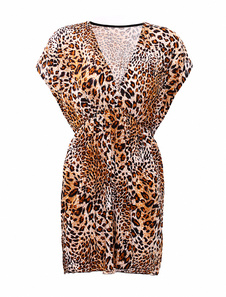 Fashion Yellow Lycra Silk Leopard Print VNeck Mini Dress