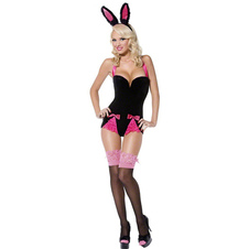 Cute Black Polyester Sexy Bunny Costume For Women