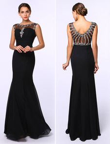 Black Prom Dresses 2017 Long Mermaid Evening Dress Rhinestones Beading Chiffon Floor Length Formal Dress