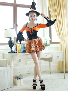 Orange Witch Costume For Halloween