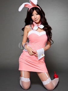 Cute Pink Cotton Blend Womens Sexy Bunny Costume