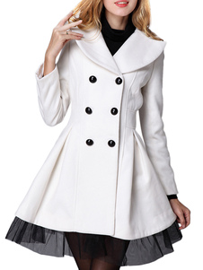White Wool Double Breasted Womens Long Coat