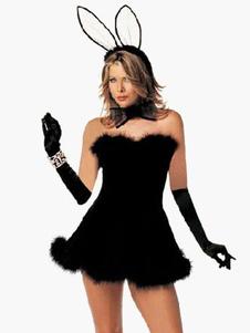 Strapless Black Velour Womens Sexy Bunny Costume