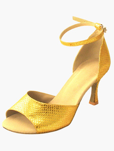Quality Ankle Strap Peep Toe PU Leather Womens Ballroom Shoes