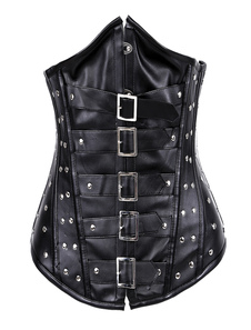 Cool Black Punk Studded PU Leather Underbust Corset