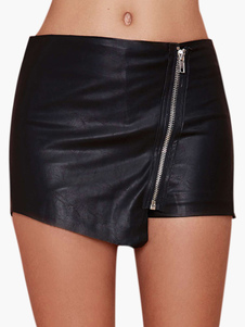 Black Patent PU Leather Casual Shorts for Women
