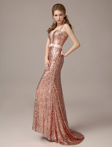 Rose Gold Prom Dresses 2017 Long Nude Mermaid Evening Dress Sequined Straps Party Dress With Train