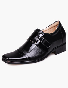 Classic Black Pointed Toe Cow Leather PVC Sole Mens Elevator Shoes
