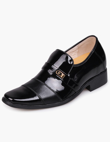 Cool Black Cow Leather PVC Sole Mens Pointed Toe Taller Shoes