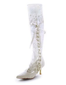 Fabulous Lace Pointed Toe Bridal Wedding Boots