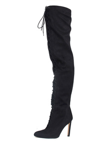 Black Pointed Toe Lace Up Over the Knee Boots