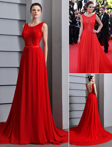 Red Prom Dresses 2017 Long Backless Evening Dress Lace Insert Chiffon Party Dress With Court Train
