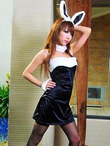 Sexy Black And White Spaghetti Bunny Costume